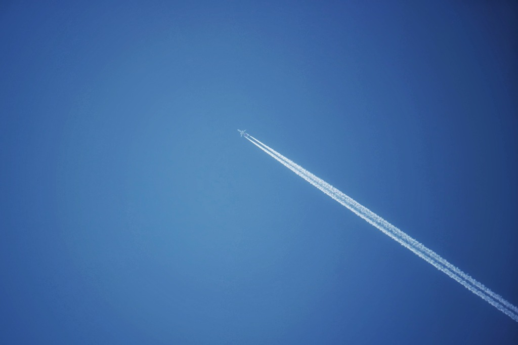 Jet Airliner Cruising in Clear Skies